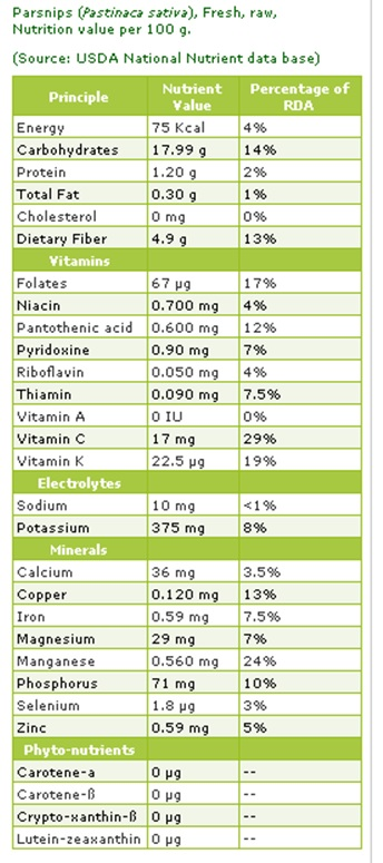 parsnip-nutrition